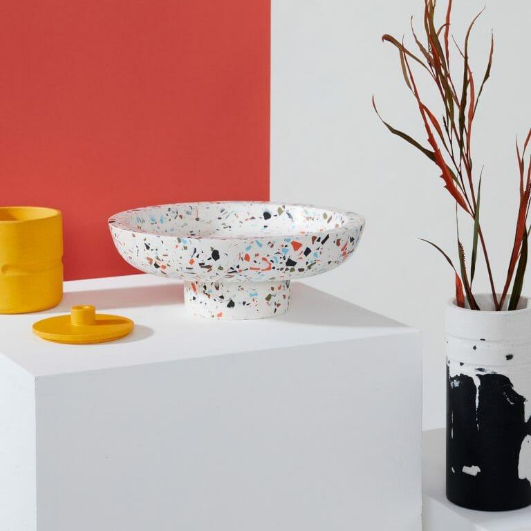 Bowl Vessel - Ziggy-jesmonite-white-bright-colour-spots