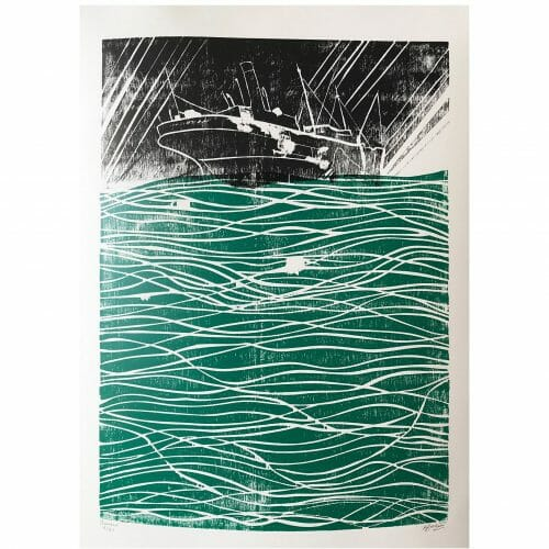 banked-woodcut-print-contemporary-art-three-colour