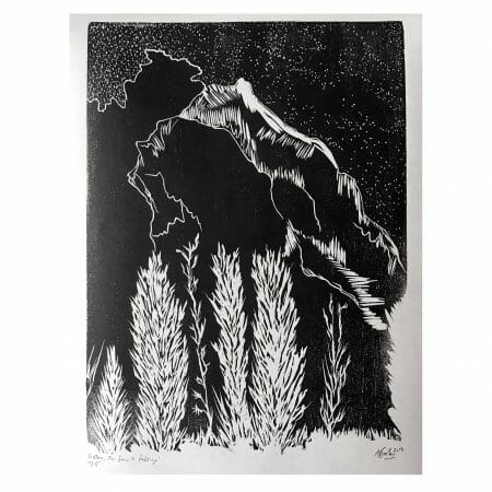 listen-the-snow-is-falling-woodcut-print-contempoarary-abstract-art-black-and-white