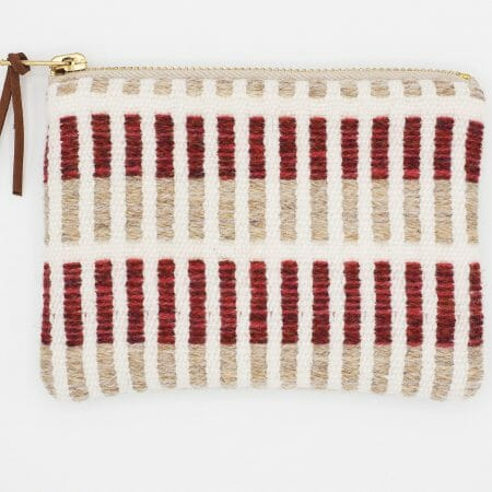 red-stripe-small-zipper-bag-british-design-weaving-uk
