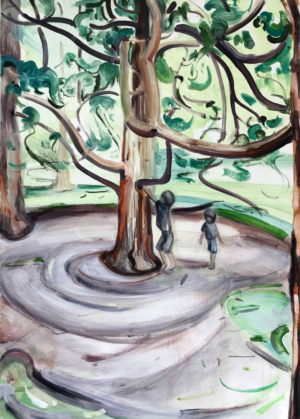 tree-climbers-oil-painting-canvas-british-art-artist