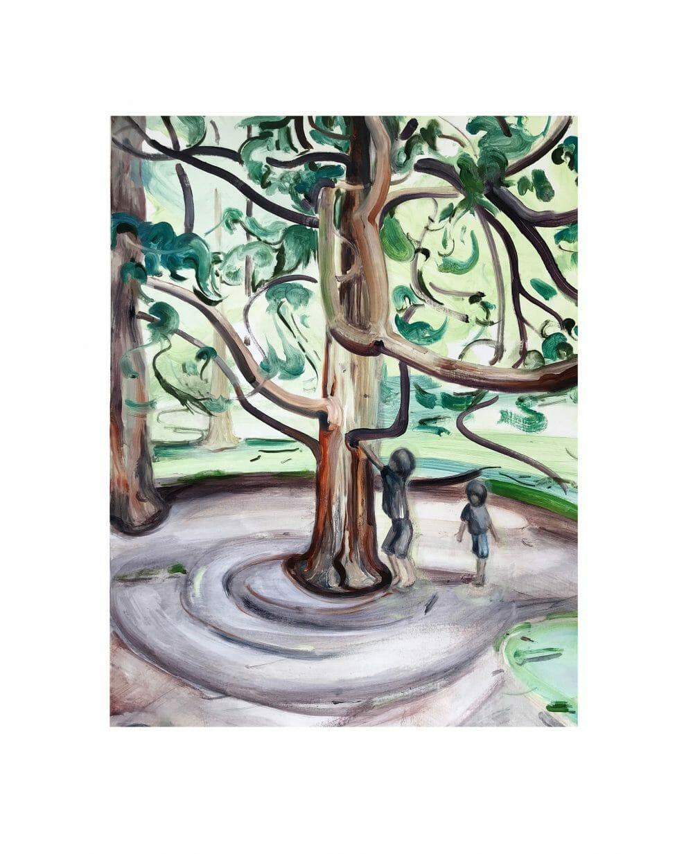 tree-climbers-painting-oil-linen-british-art
