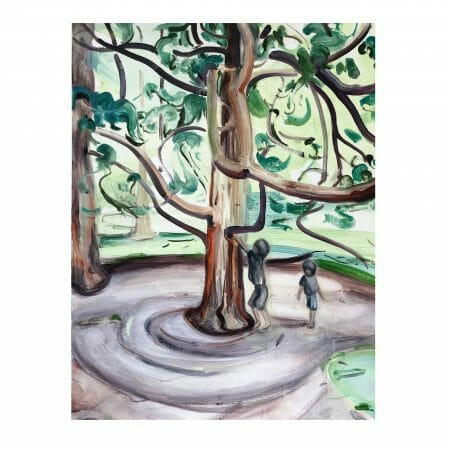 tree-climbers-painting-oil-linen-british-art