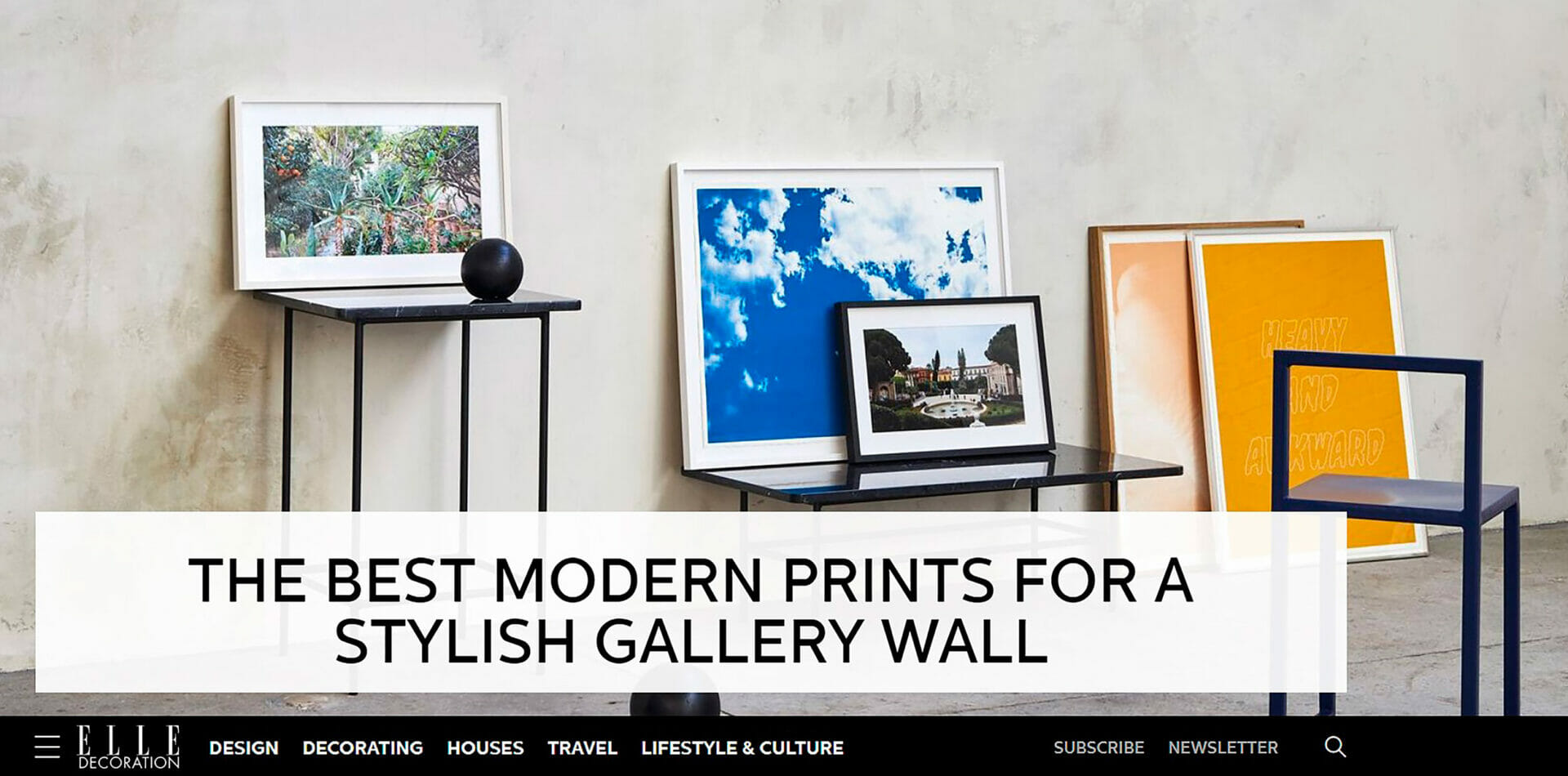 Elle Decoration feature - Artists & Objects on the homepage with prints included in the gallery wall edit