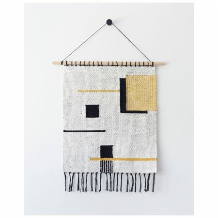 wall hanging-sommitelma-handwoven-wool-square-black-white-brown