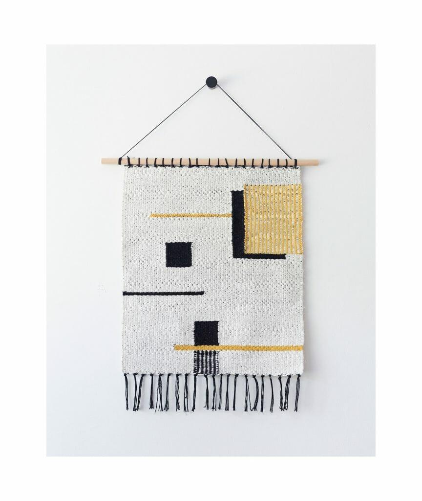 wall hanging-sommitelma-handwoven-wool-square-black-white-brown