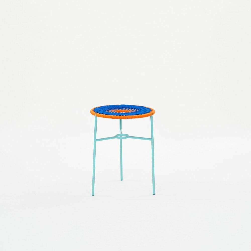 blue-and-orange-woven-stool