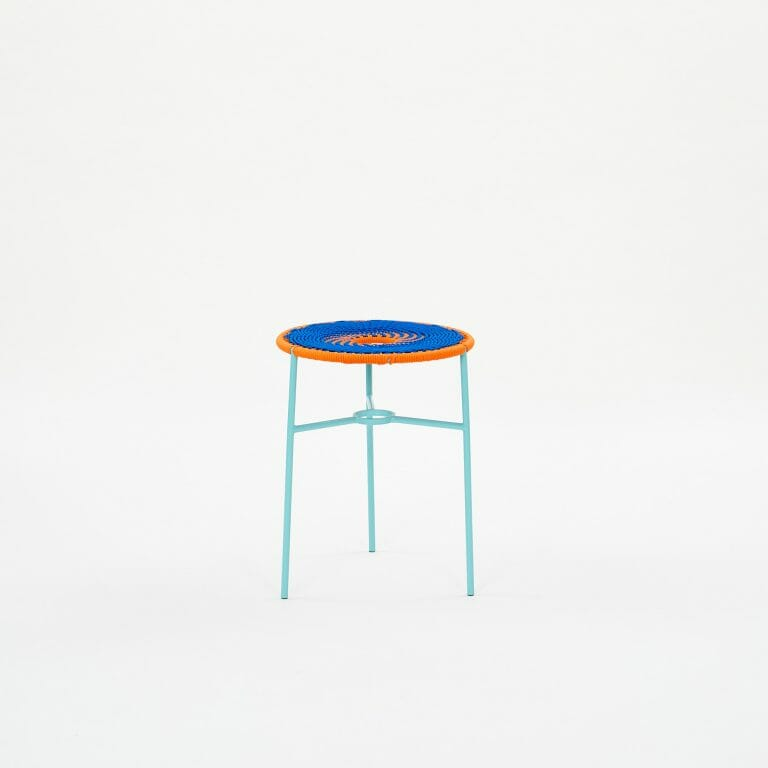 blue-and-orange-woven-stool