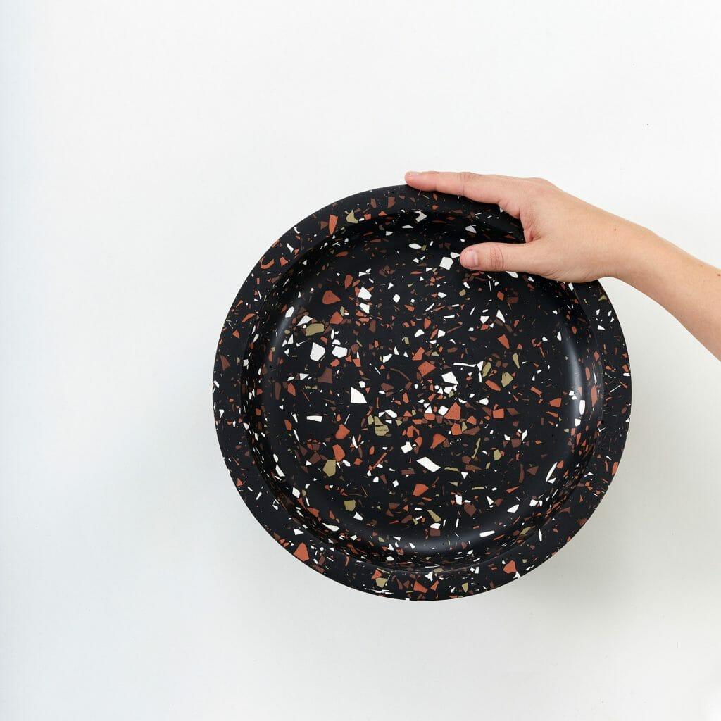 Bowl-Vessel-Stellar-jesmonite-black-with-coloured-spots