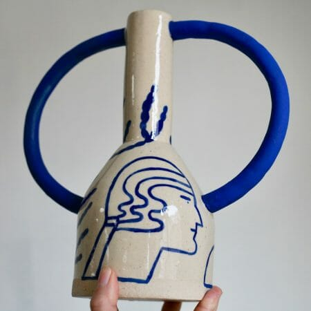 extra-large-jug-eared-vase-in-cream-and-blue-ceramics-big-handles-illustrated-blue-drawing-of-head