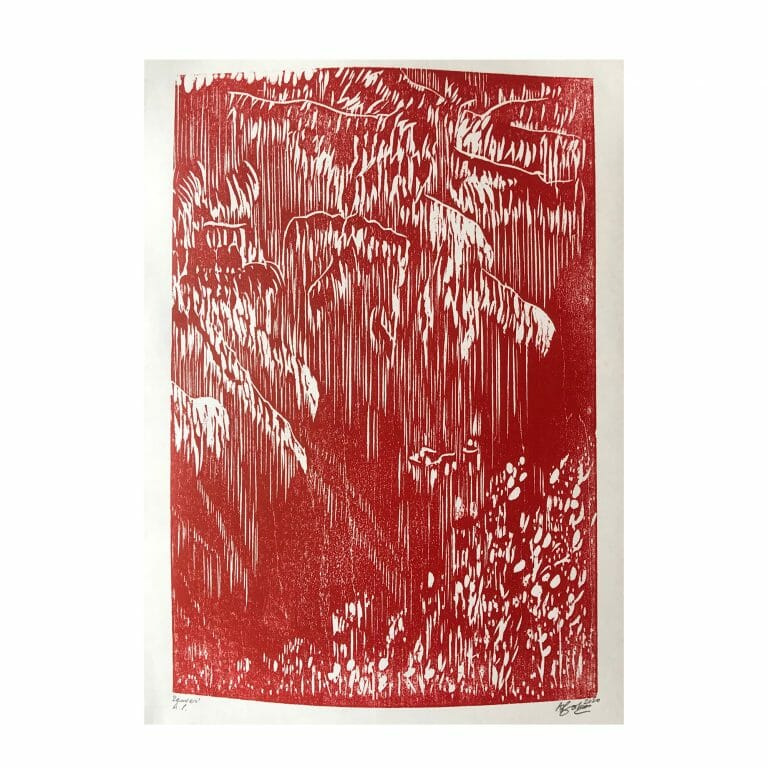 leaves-woodcut-print-contemporary-art-two-colour