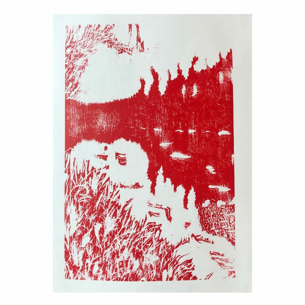 finnish-reflections-woodcut-print-red-and-white-contemporary-art