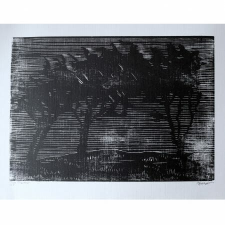 trees-together-woodcut-print-contemporary-art-black-and-white