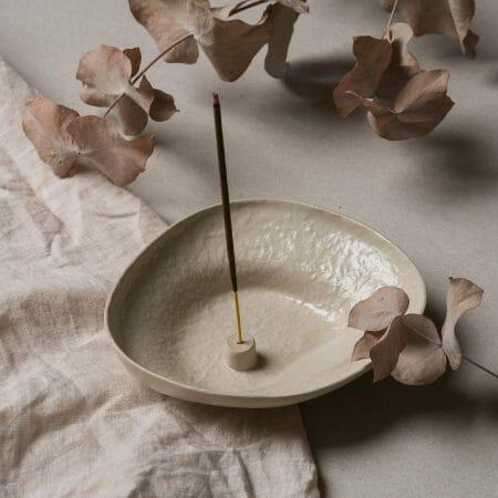 Stoneware-Incense-Holder-ceramic-Almond