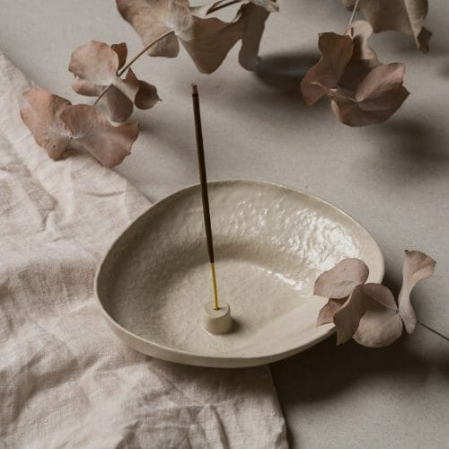 Stoneware-Incense-Holder-Almond-ceramic-Almond