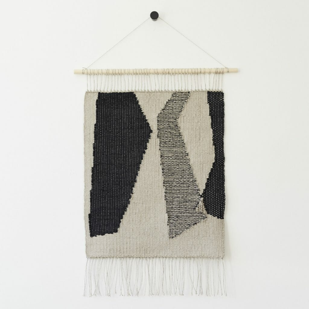 Kaavat-wall-hanging-art-tapestry-textiles-handwoven-abstract-black-grey-beige