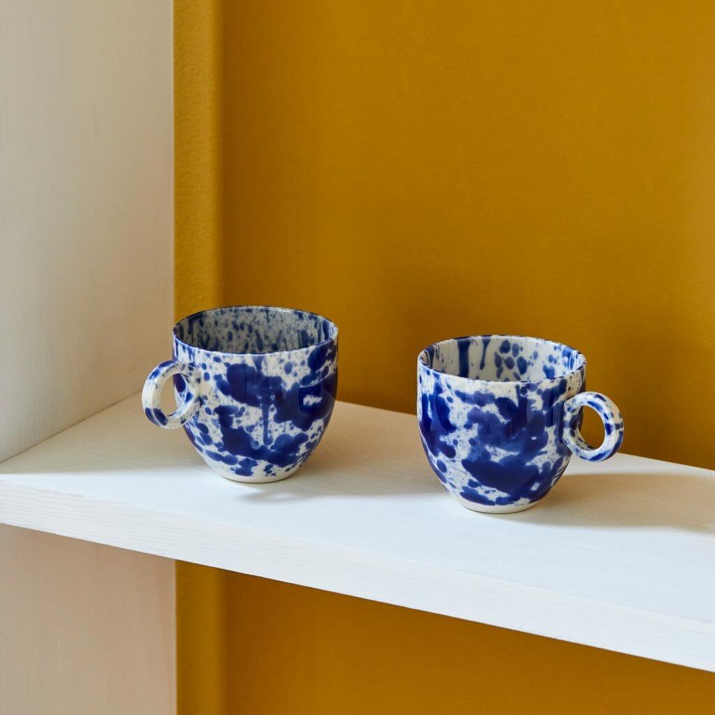 Blue Splatter Espresso Cup Porcelain-handmade