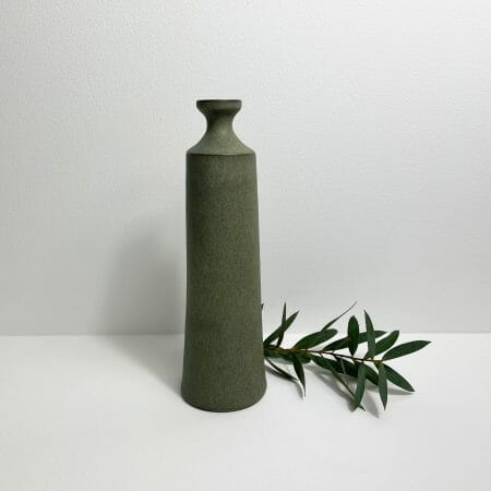 tall-bottle-moss-green-ceramic-pottery