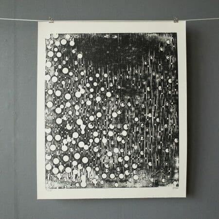 so-it-goes-woodcut-print-dots-circles-black-white-paper-printmaking-art