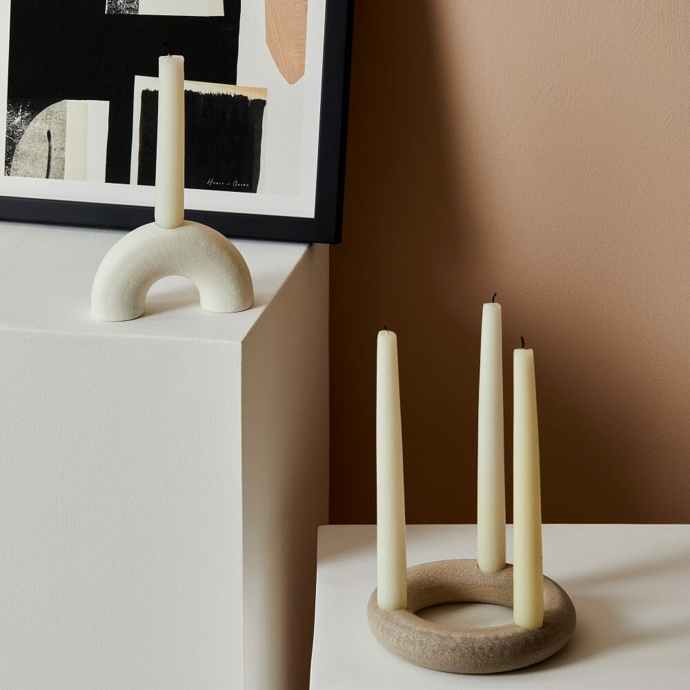 candle-holders-semi-circle-oval-candles-white-stoneware-pottery
