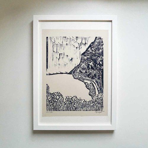 somewhere-woodcut-print