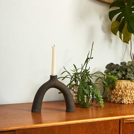 Black Leggy | Ceramic-handmade-pottery-candleholder