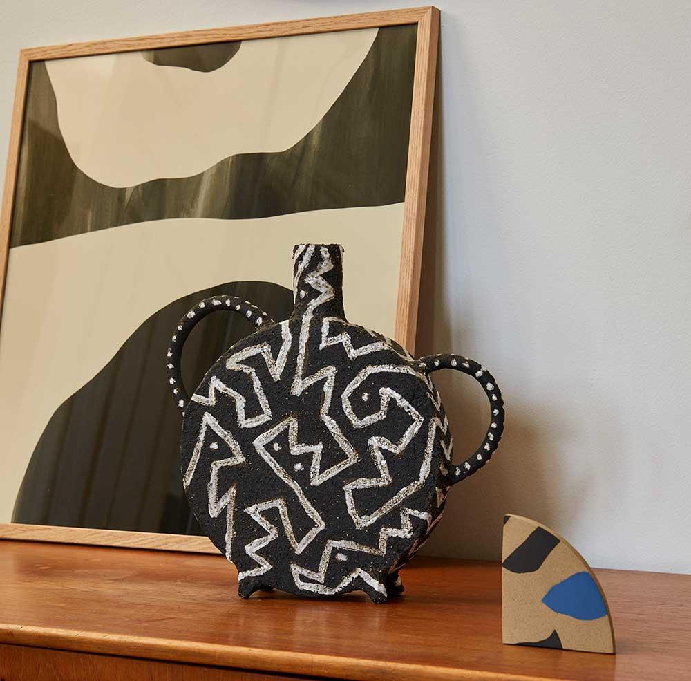 Handmade Blue and Black Ceramic Vase by Veerle Evans